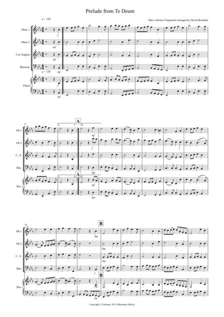 Prelude from Te Deum for Double Reed Quartet
