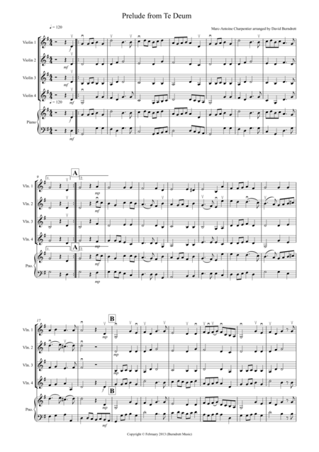 Prelude from Te Deum for Violin Quartet