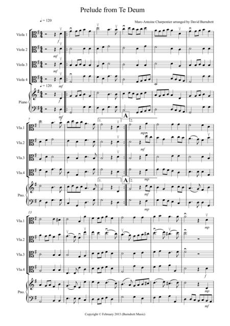 Prelude from Te Deum for Viola Quartet