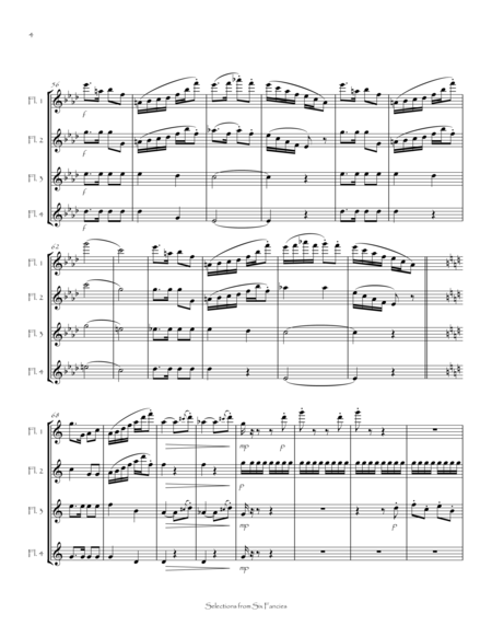 Selections from Six Fancies for Flute Quartet