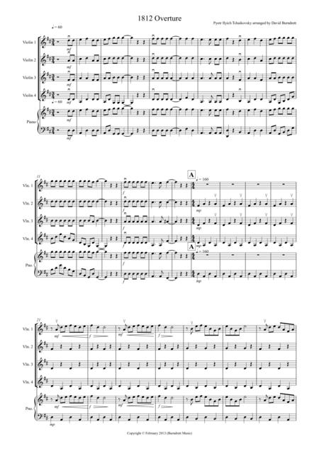1812 Overture for Violin Quartet