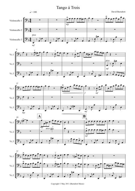 Tango á Trois for Cello Trio