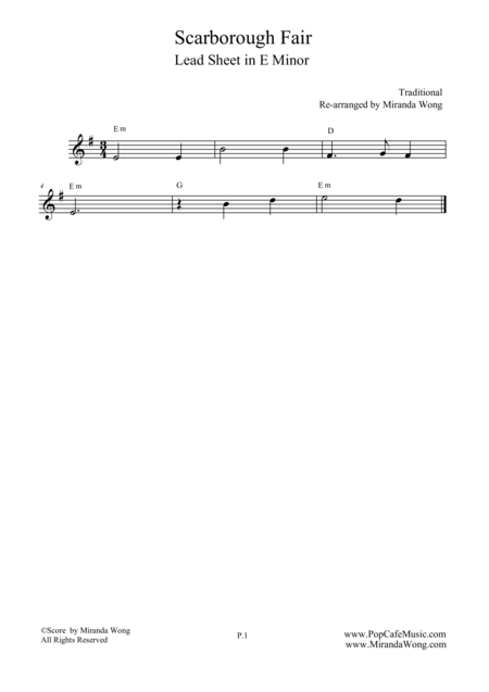 Scarborough Fair - Lead Sheet in E Minor