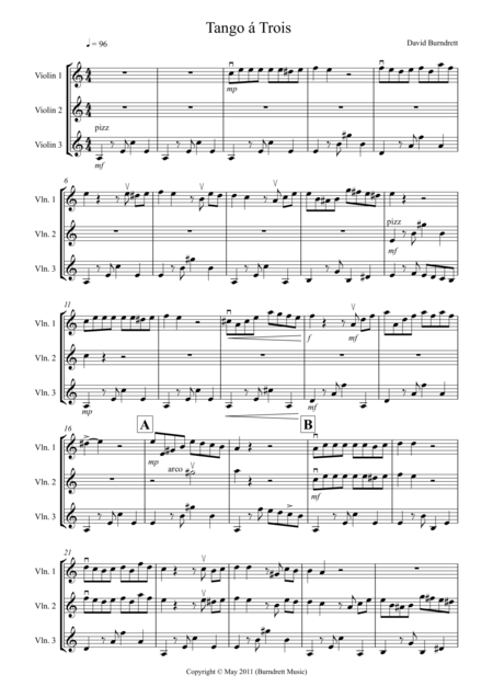Tango á Trois for Violin Trio