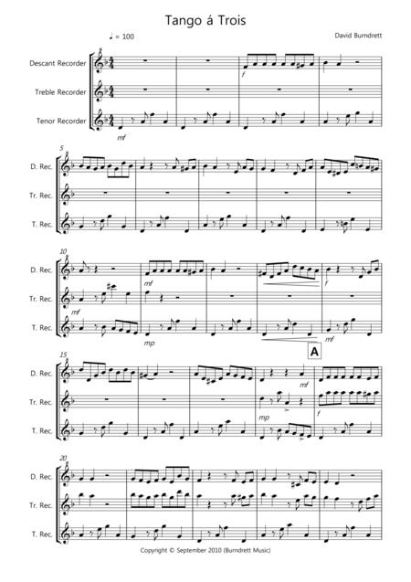Tango á Trois for Recorder Trio