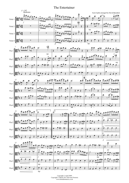 The Entertainer for Viola Quartet