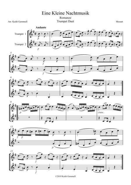 Eine Kleine Nachtmusik – Romanze: Trumpet Duet