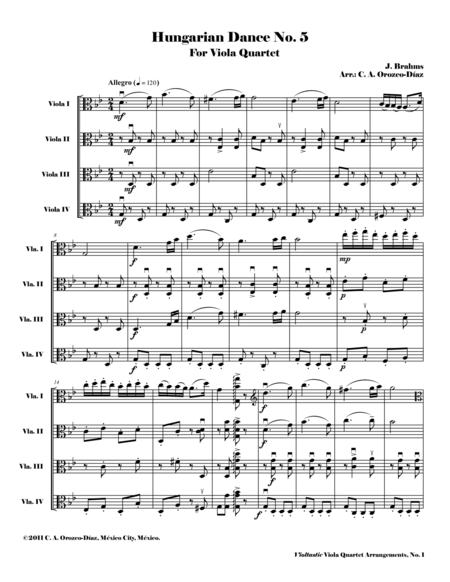 Hungarian Dance No. 5 - for Viola Quartet (Score and Parts)