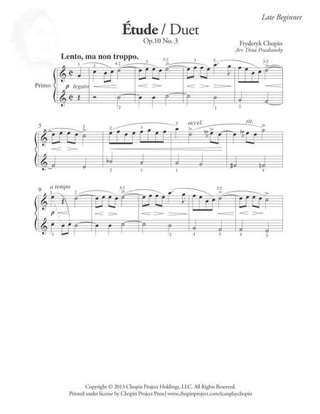 Etude Op. 10 No. 3 Duet, Primo