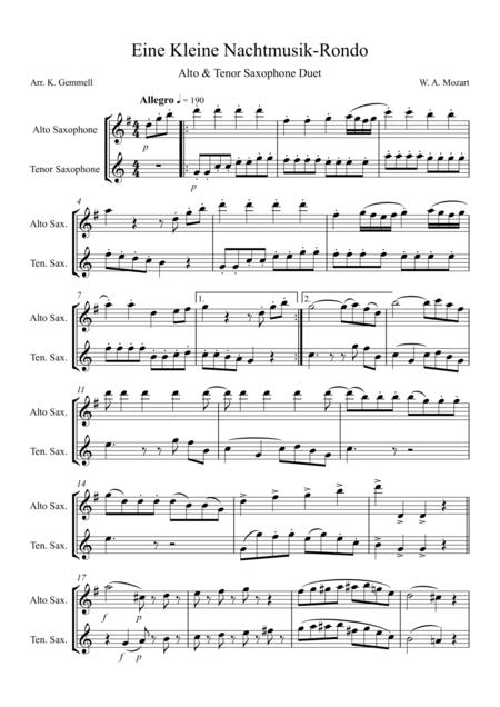 Eine Kleine Nachtmusik – Rondo: Alto & Tenor Saxophone Duet