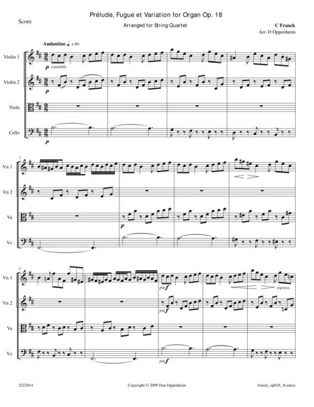 Franck: Prelude, Fugue and Variation Op. 18 for String Quartet