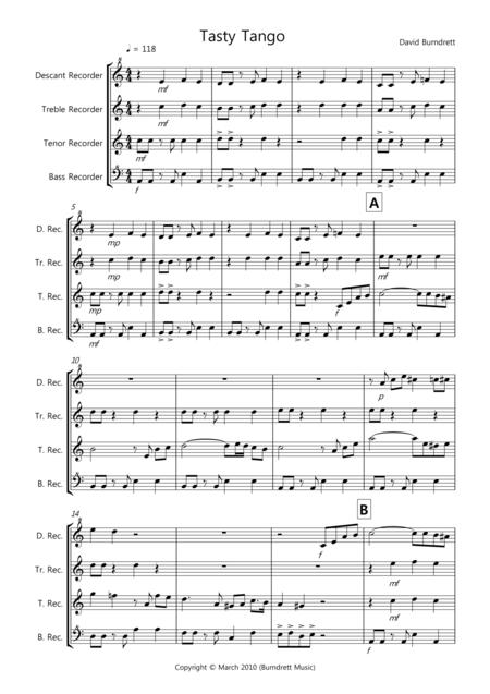 Tasty Tango for Recorder Quartet
