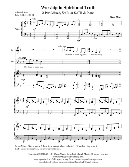 Worship in Spirit and Truth (2-part mixed, SAB, or SATB and Piano)