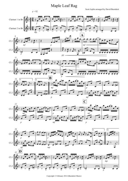 Maple Leaf Rag for Clarinet Duet