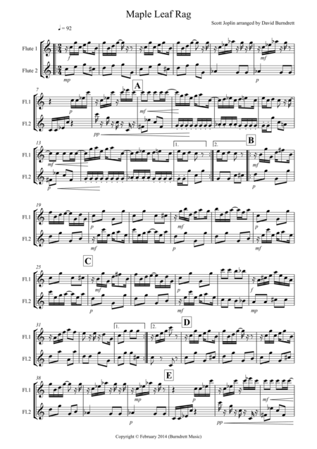 Maple Leaf Rag for Flute Duet