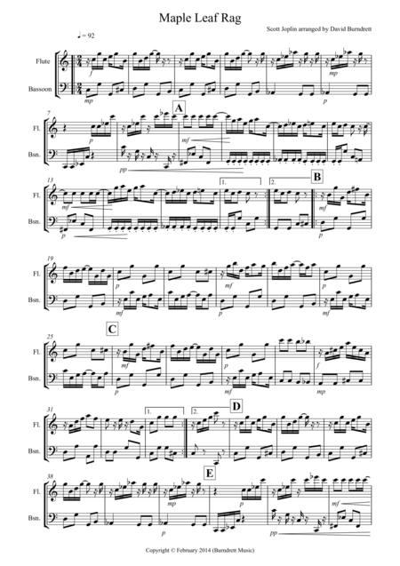 Maple Leaf Rag for Flute and Bassoon Duet