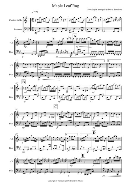 Maple Leaf Rag for Clarinet and Bassoon Duet