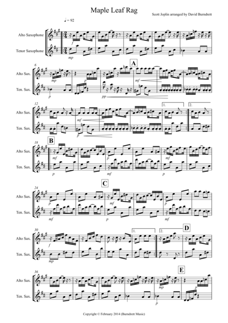 Maple Leaf Rag for Alto Saxophone and Tenor Saxophone Duet