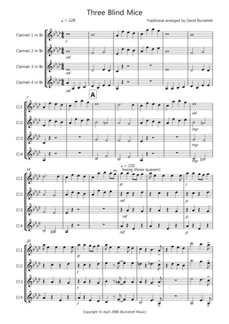 Three Blind Mice for Clarinet Quartet