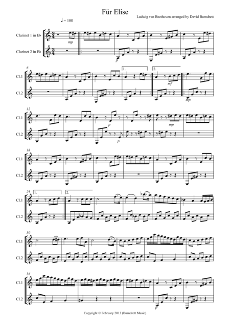 Für Elise for Clarinet Duet