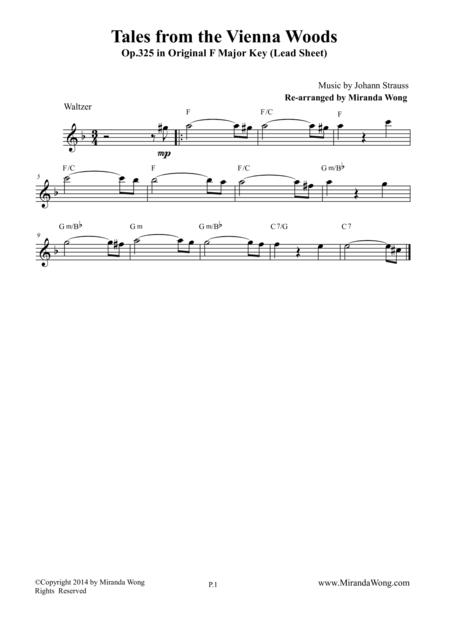 Tales from the Vienna Woods - Lead Sheet in Original F Major
