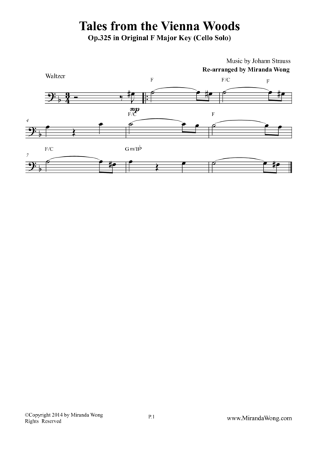Tales from the Vienna Woods - Wedding Lead Sheet for Cello Solo (Bass Clef)