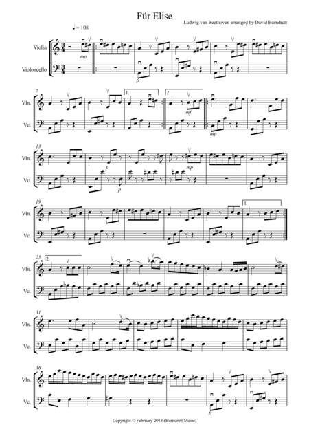 Für Elise for Violin and Cello Duet