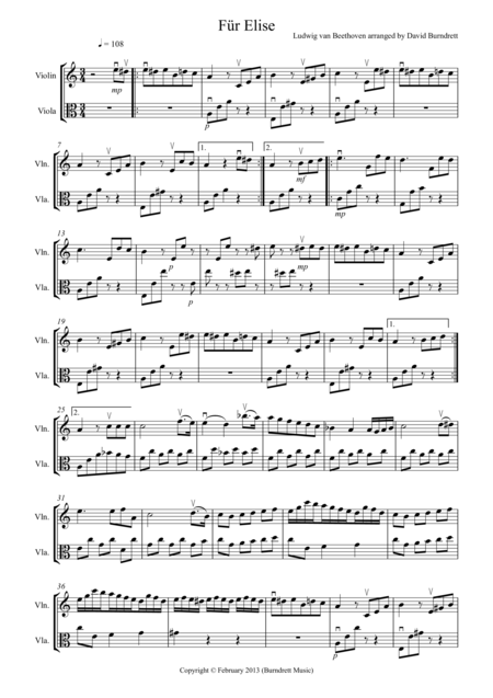 Für Elise for Violin and Viola Duet