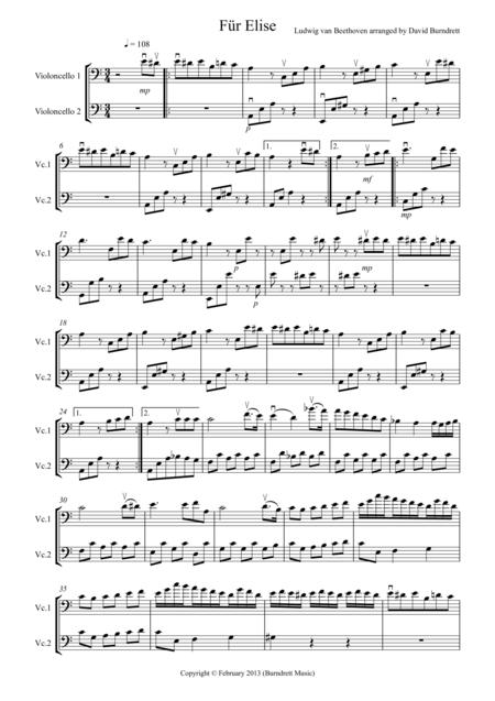 Für Elise for Cello Duet
