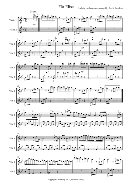 Für Elise for Violin Duet