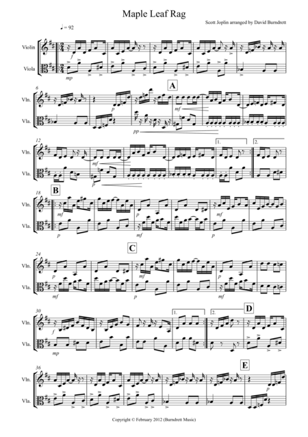 Maple Leaf Rag for Violin and Viola