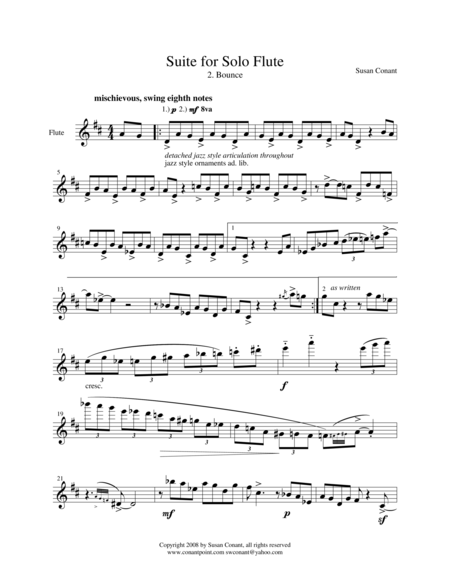 Suite for Solo Flute 2. Bounce