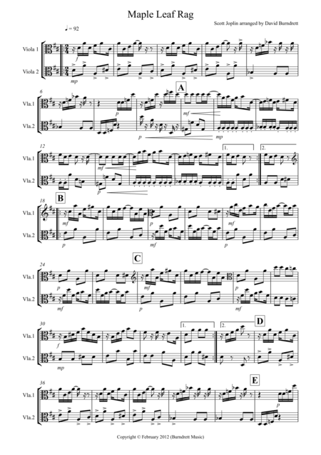 Maple Leaf Rag for Viola Duet