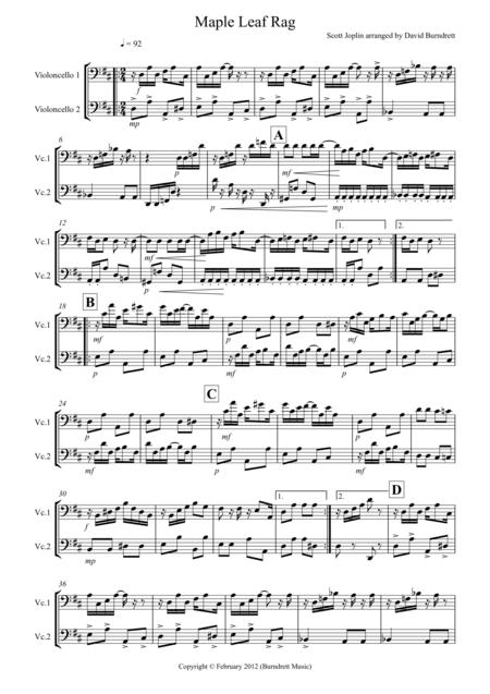 Maple Leaf Rag for Cello Duet