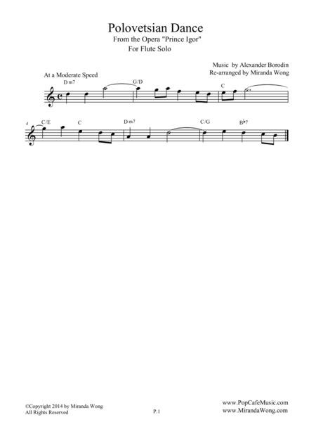 Polovetsian Dances (from Prince Igor) - Lead Sheet for Flute or Oboe Solo