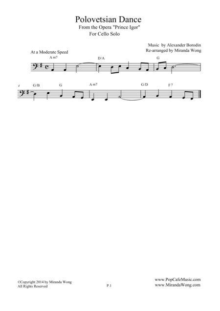 Polovetsian Dances (from Prince Igor) - Cello, Bass Clarinet or Trombone Solo (Bass Clef)
