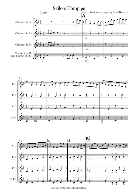 Sailor's Hornpipe for Clarinet Quartet
