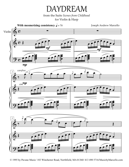 Daydream - from 'Scenes from Childhood' for Violin & Harp