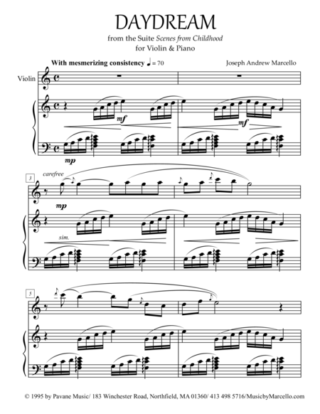 Daydream - from 'Scenes from Childhood' for Violin & Piano