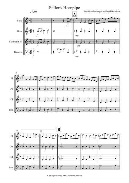 Sailor's Hornpipe for Wind Quartet