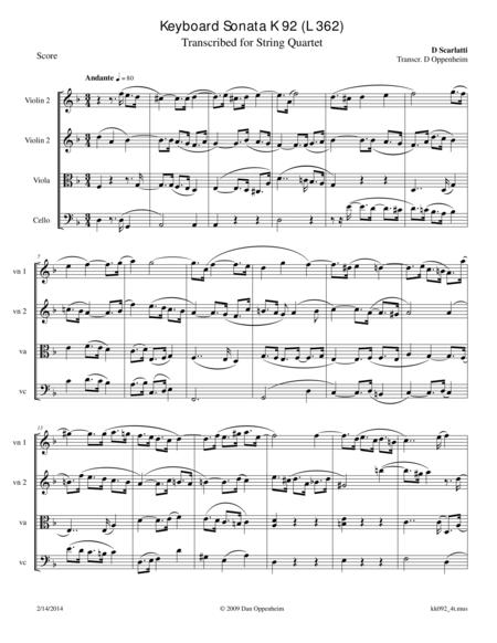 Scarlatti: Sonata in D minor K 92 (L 362)