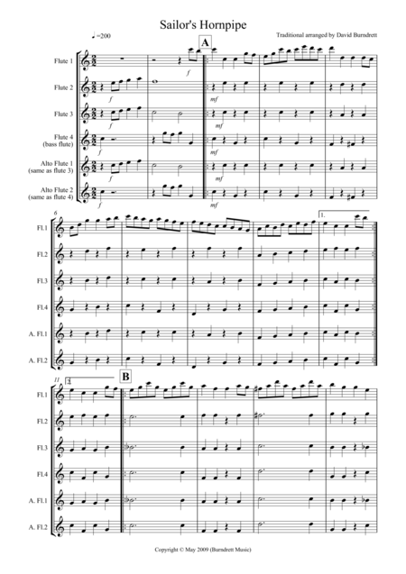 Sailor's Hornpipe for Flute Quartet