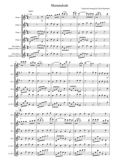 Shenandoah for Flute Quartet