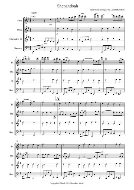 Shenandoah for Wind Quartet