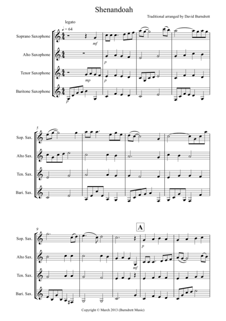 Shenandoah for Saxophone Quartet