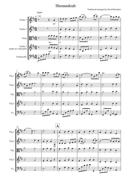 Shenandoah for String Quartet