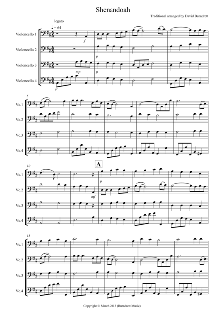 Shenandoah for Cello Quartet