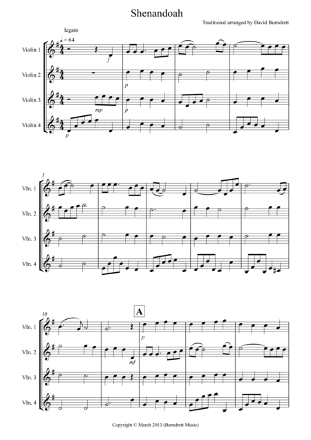 Shenandoah for Violin Quartet