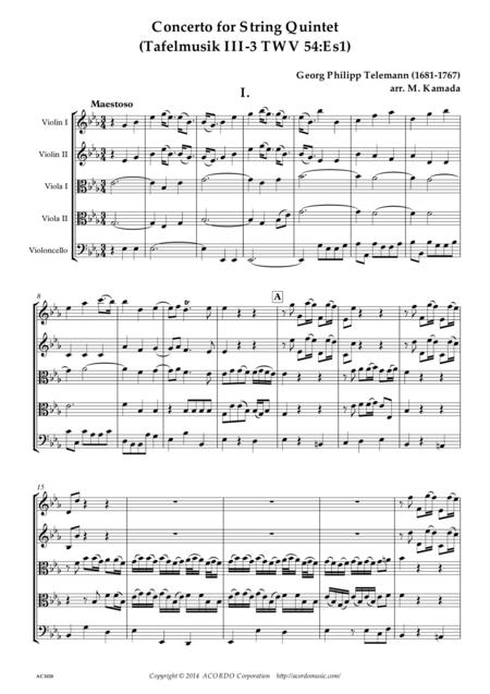 Concerto for String Quintet (Tafelmusik III-3 TWV 54:Es1)