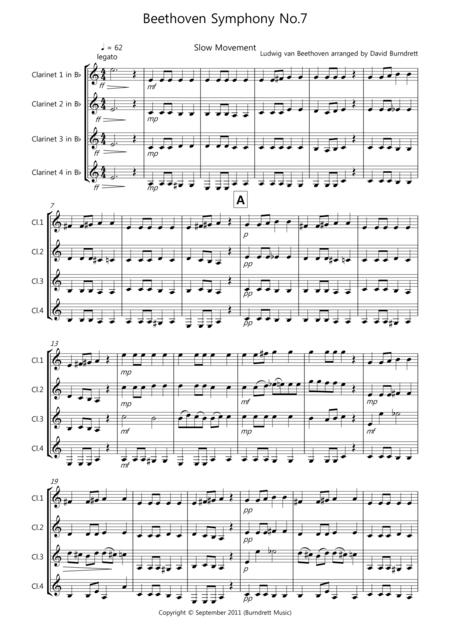Beethoven Symphony No.7 (slow movement) for Clarinet Quartet